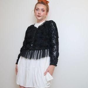 Vintage style Pretty Angel black rosette jacket